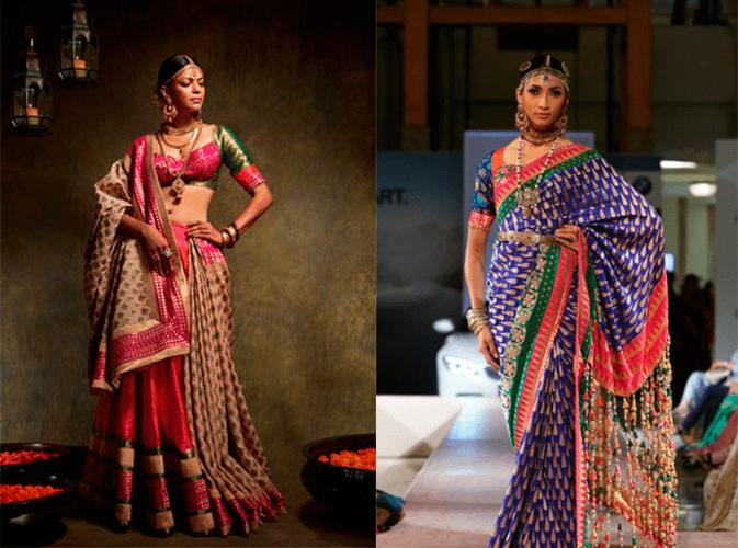 Свадебные платья в индийском стиле в фиолетовом и розовом оттенках