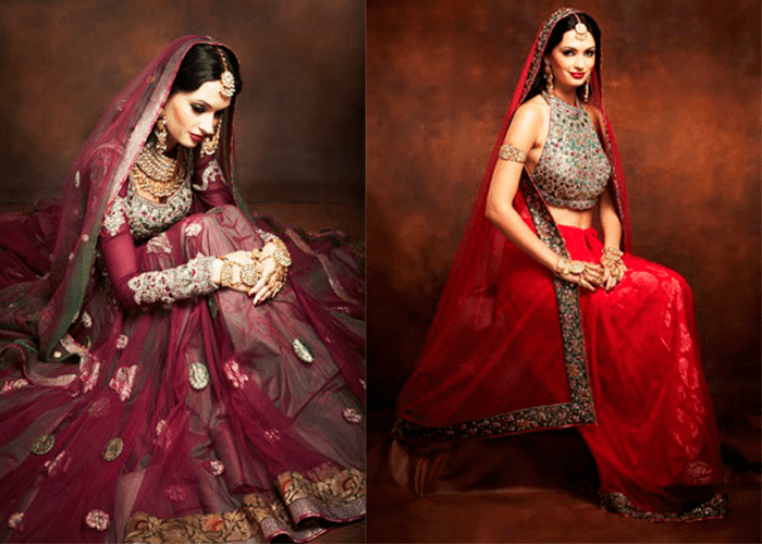 Свадебные платья в индийском стиле в красных оттенках