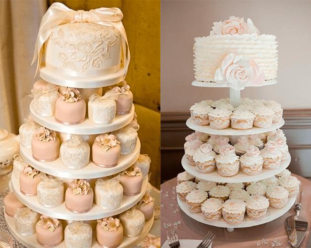 Свадебный торт с цветами и с бантом,с капкейками