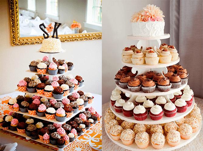 Свадебный торт с цветными капкейками
