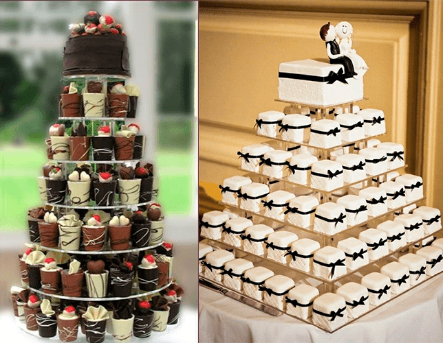 Свадебный торт с фигурками молодоженов и с капкейками