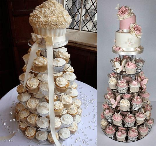 Свадебный торт с розами и капкейками