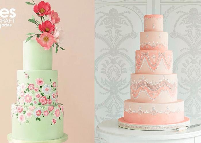 Ярусные свадебные торты с цветами и узорами