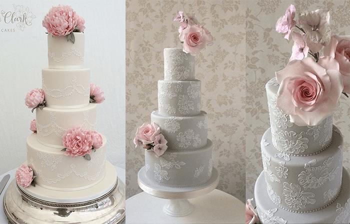 Ярусные свадебные торты с большими цветами