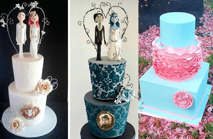 Ярусные свадебные торты с цветами и фигурками жениха и невесты