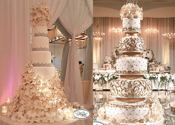 Ярусные белые свадебные торты с цветами с цветами и камнями