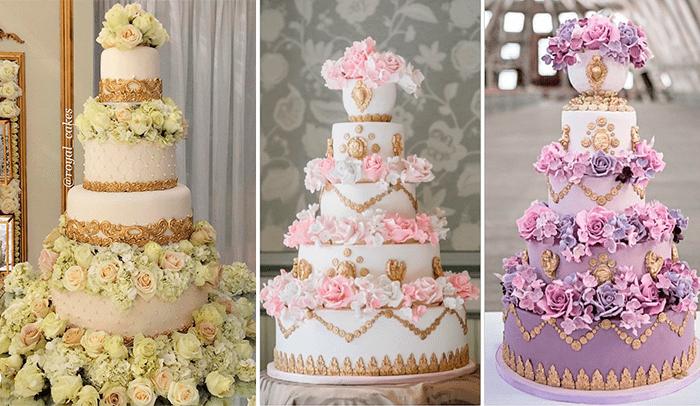 Ярусные свадебные торты с большим колличеством цветов