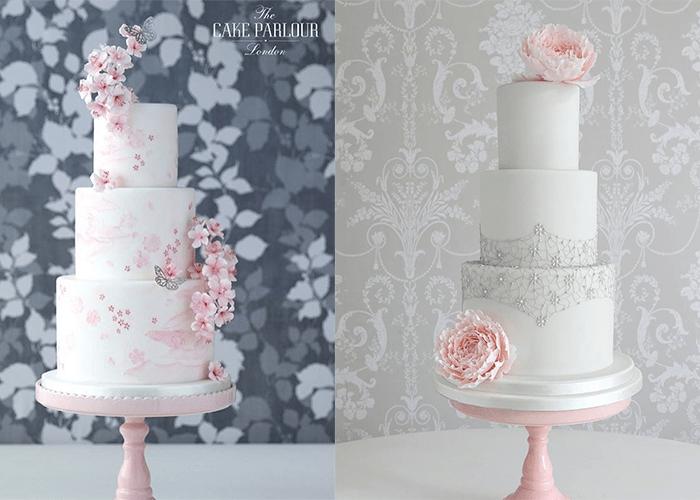 Ярусные белые свадебные торты с розовыми цветами
