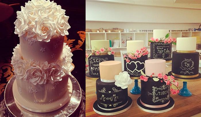 Двухъярусные свадебные торты с цветами