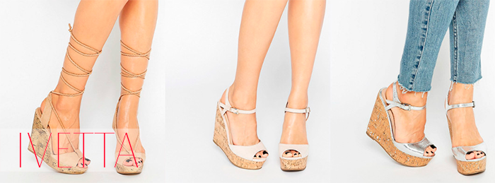 Светлые босоножки на женских ножках на платформе