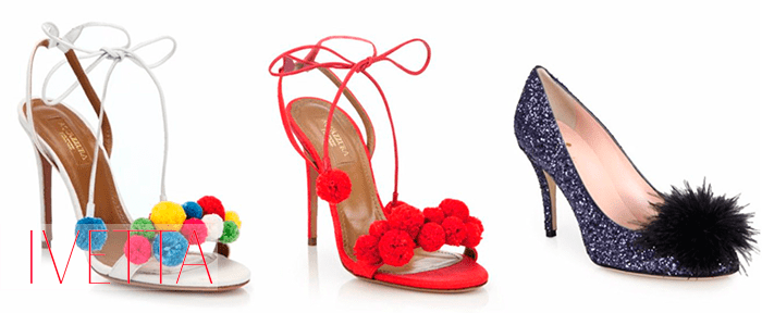 Женская обувь на каблуке с помпонами