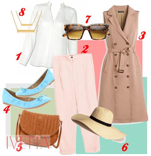 Женские брюки, жилет, кофта, балетки, шляпа, сумка и очки