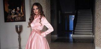 Алена Лесык в длинном розовом платье
