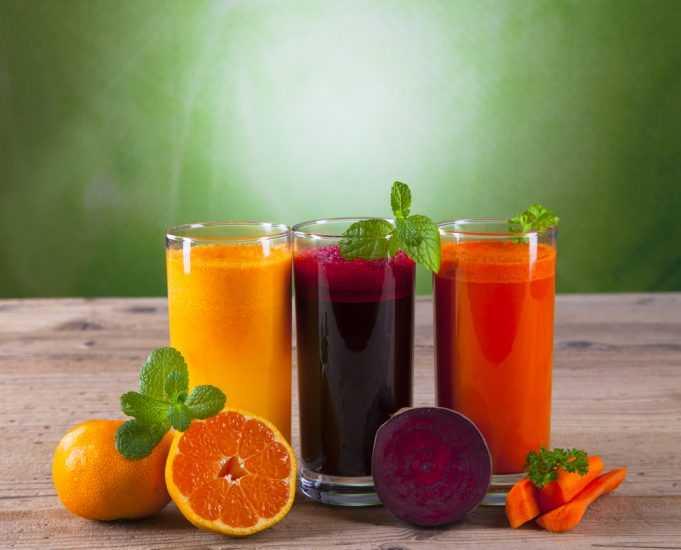 Апельсиновый, морковный и свекольный сок