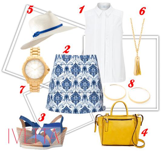 Белая кофта, юбка с цветочным принтом, часы, шляпа, босоножки и желтая сумка