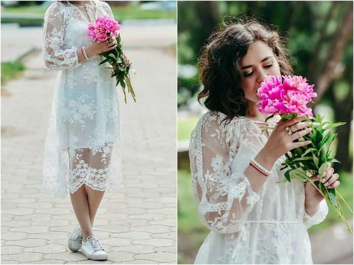 Девушка в белом платье с розовыми пионами