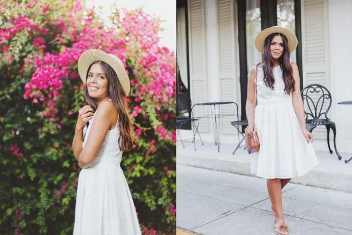 Девушка в белом сарафане и шляпке