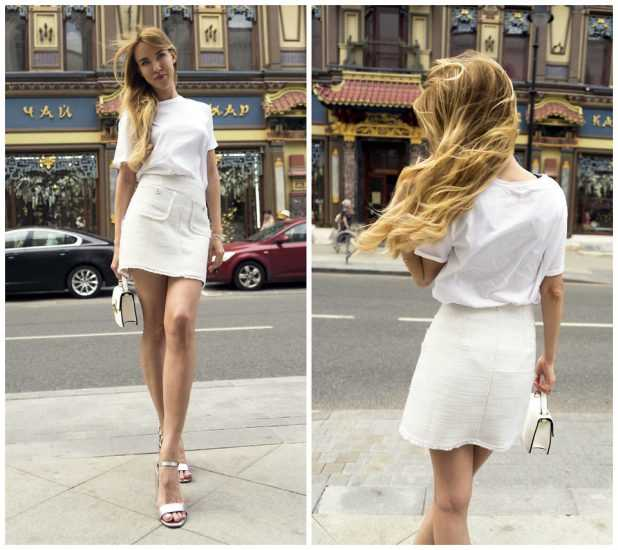 Девушка в белой юбке и белой футболке