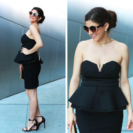 Девушка в черном коротком платье с баской