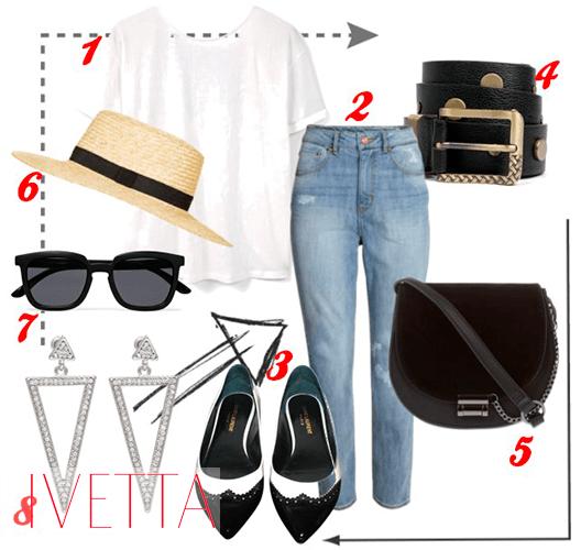 Джинсы, белая футболка,сумка,шляпа,очки,пояс,серьги и ремень