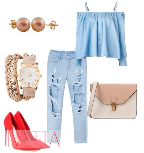 Рваные джинсы, голубая рубашка со спущенными плечами и красные туфли