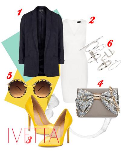Пиджак, белое платье, очки,желтые туфли