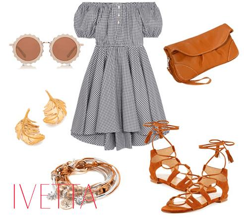 Серое платье в клетку, босоножки на танкетке, бижутерия, очки и коричневая сумка