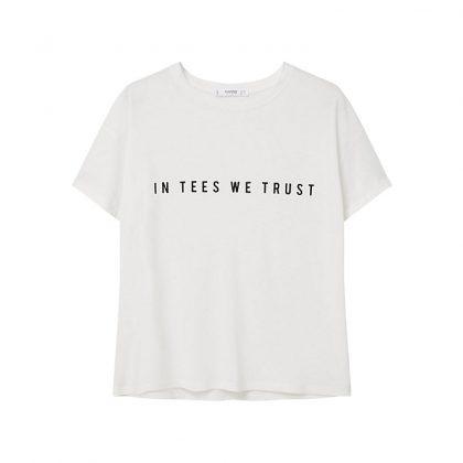 Бела футболка с черной надписью