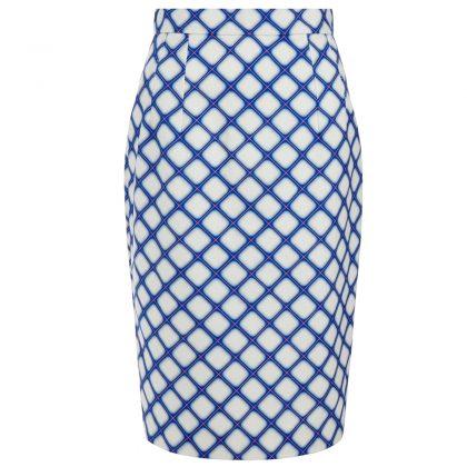 Белая юбка в синюю клетку