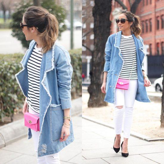 Девушка в белых брюках и с розовым клатчем