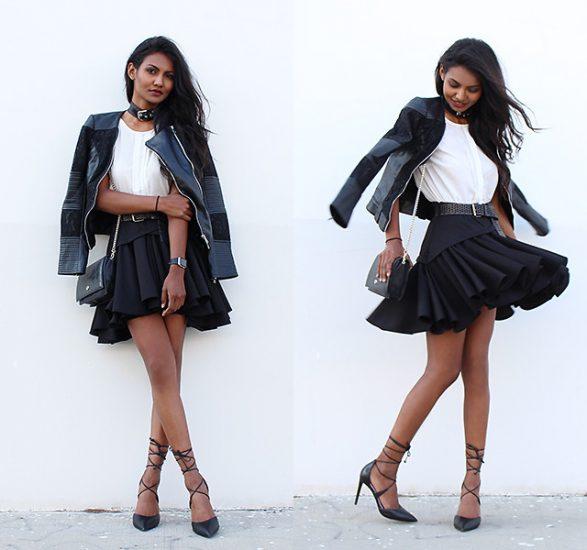 Девушка в белой кофте, черной юбке