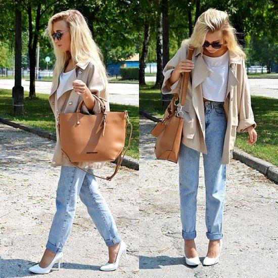 Девушка в джинсах-бойфрендах и с рыжей сумкой