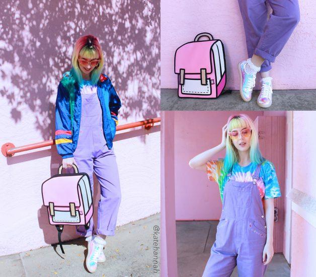 Девушка в фиолетовом комбинезоне