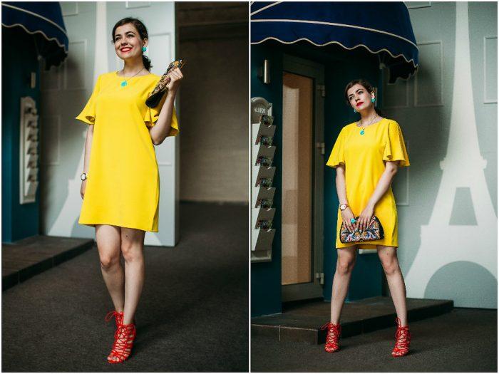 Девушка в коротком желтом платье и красных босоножках