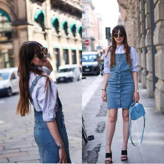 Девушка в полосатой рубашке и в джинсовом сарафане