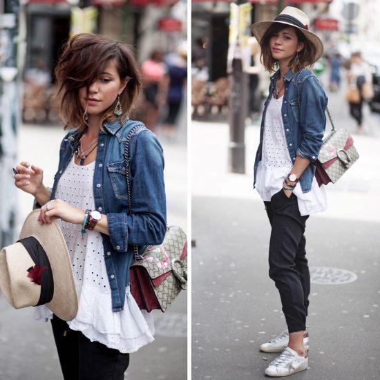 Девушка в белой майке, шляпе и джинсовой ветровке