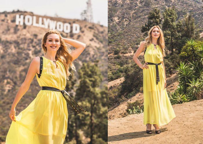 Девушка в длинном желтом платье и черным ремнем