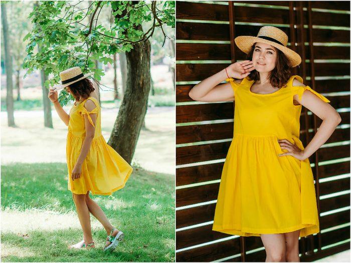 Девушка в коротком желтом платье и в шляпке