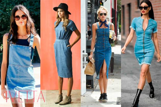 Девушки в джинсовых сарафанах