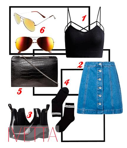 Джинсовая юбка, черный топ, очки,сумка, носки и ботинки