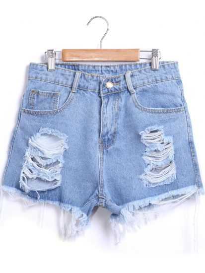 Ультракороткие джинсовые шорты с дырками