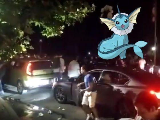Люди н машинах в центральном парке из-за покемона