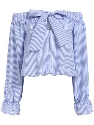Полосатая Женская рубашка с открытыми плечами