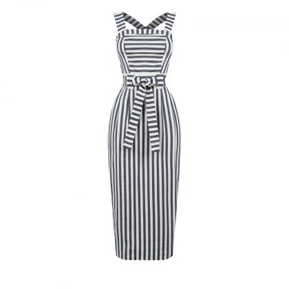 Полосатое платье футляр