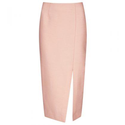 Розовая юбка с разрезом