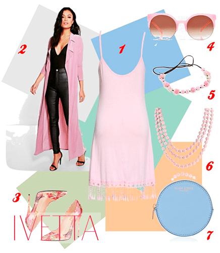 Розовое платье, туфли,очки, бусы