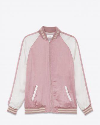 Розовый бомбер с белыми рукавами