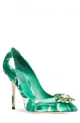 Зеленый женский туфель с камнем