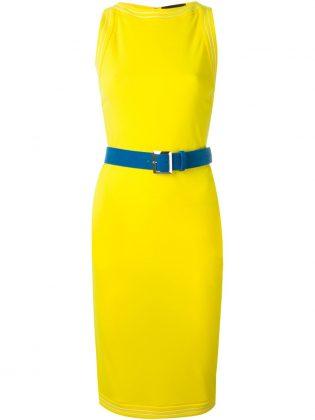 Желтое платье футляр с голубым поясом