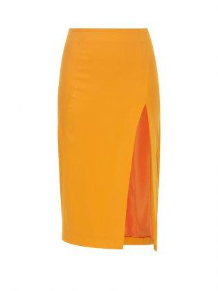 Желтая юбка с разрезом